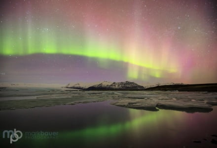 Mark Bauer Photography | ICE025 Northern Lights, Jokulsarlon