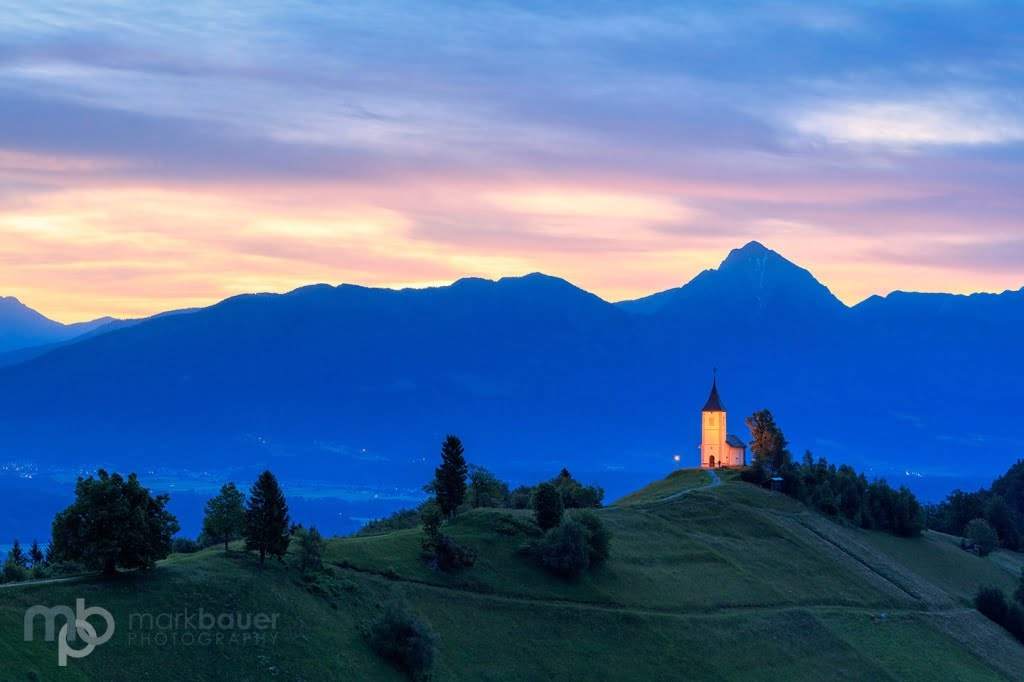 Mark Bauer Photography | SLO008 First Light, St-Primoz Church, Jamnik
