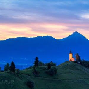 Mark Bauer Photography | SLO008 First Light, St-Primoz Church, Jamnik
