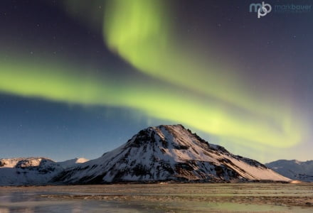 Northern lights near Eystrahorn, Iceland