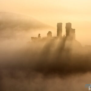 Mark Bauer Photography | Corfe Castle, Silhouetted in Golden Mist
