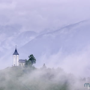 Mark Bauer Photography | St Primoz Church in the Mist, Slovenia
