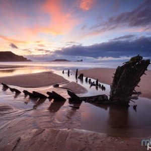 Mark Bauer Photography   Sunset, Rhossili Bay, The Gower, Wales